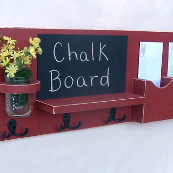 Mail Organizer - Mail and Key Holder - Chalkboard - Chalk board - Key Hooks -  Coat Rack - Wood
