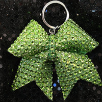1 Green Rhinestone Bling Keychain Holders Bow Ribbon Cheer Dance
