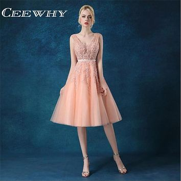 CEEWHY V-Neck Embroidery Major Beading Sexy Backless Formal Gowns Party Dresses Cocktail Dresses Tea-Length Homecoming Dresses