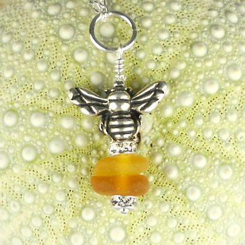 Eco Friendly Bee Jewelry GENUINE Sea Glass Necklace