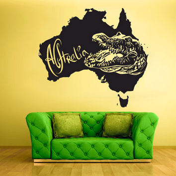 rvz1539 Wall Vinyl Sticker Decals Decor Alligator Crocodile Map Croc Thailand