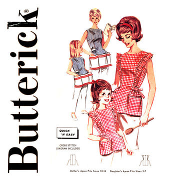 Mother Daughter Apron Pattern Butterick 2518 1960s Cobbler Aprons Back Button Cross Stitch Gingham Womens Childrens Vintage Sewing Patterns