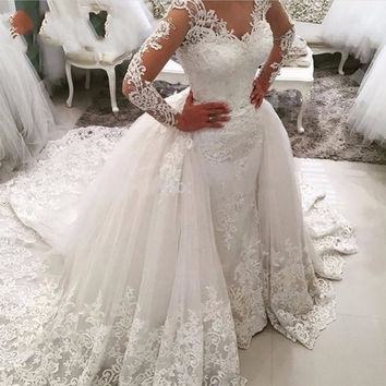 Vintage Mermaid Wedding Dress 2017 Sexy Lace Long Sleeve Muslim Vestido De Noiva 2016 Detachable Train Wedding Gowns