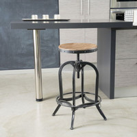 Round Barstool Adjustable Seat Iron Curved Legs And Base Natural Fir Wood Top