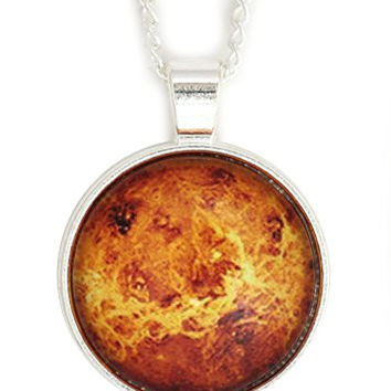 Planet Mars Necklace Silver Tone NW60 Outer Space Red Photo Pendant Fashion Jewelry