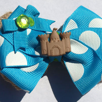 bright blue and burlap sandcastle hairbow- summer hair bows- girls accessories