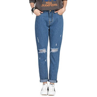 Harem Distressed Softener Denim Plus Size Jeans