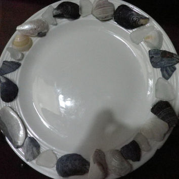 Beach Decor China plate, beach house decor with broken bits of seashells, sea glass,