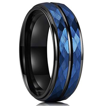 CERTIFIED 8 mm Blue Hammered Tungsten Black Two Tone Wedding Band Groove