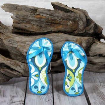Christmas Ornament Flip Flop Beach Theme Coastal Decor Set of Two made with Blue Floral Fabric and a Teal Blue Embroidery Edge