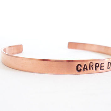 Carpe Diem Cuff Bracelet in Rose Gold
