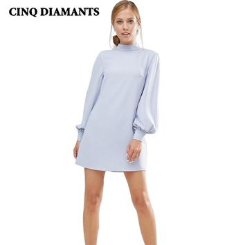 Micro Mini Dress Hipster Cute Party Formal Dresses For Women Light Blue Lantern Long Sleeves Turtleneck Vestidos Robe Femme Fall