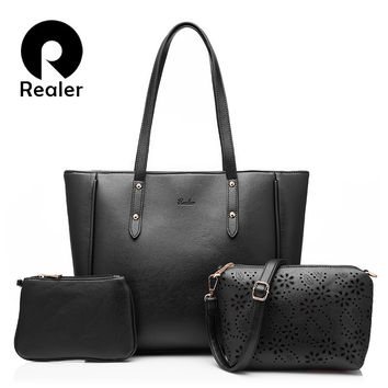 REALER brand women handbag 3 sets solid artificial leather tote bag large shoulder bags ladies purses and handbags