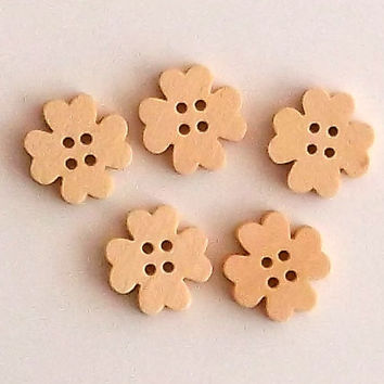 Set of 5 Clover Flower Wooden Buttons, Approx 1.5 cm Diameter, Lasercut