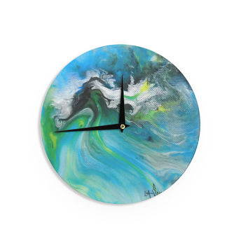 "Carol Schiff ""Turquoise And Green Abstract"" Blue Teal Wall Clock"