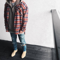 2016 US Hip Hop Most popular justin bieber fear of god fog Men unisex flannel Long-sleeved plaid oversized dress shirt in red