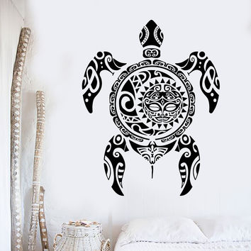 Vinyl Wall Decal Sea Turtle Animal Batoidea Ethnic Marine Style Ocean Stickers Unique Gift (1111ig)
