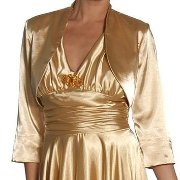 Mid Length Sleeve Gold Satin Bolero Jacket Shrug
