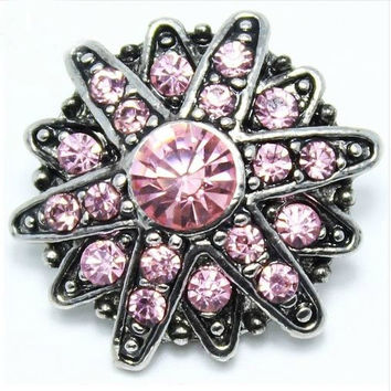 Rhinestone Pink Star Snap 20mm for Snap Jewelry (1800)