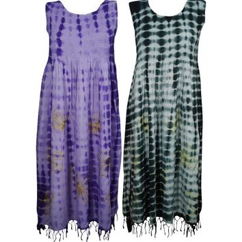 Mogul Electric Lady Tye Dye Comfy Long Dress Rayon Boho Chic Gypsy Hippie Summer Dresses Wholesale Set Of 2 - Walmart.com