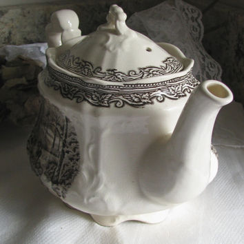 Old London Village Scene, Arthur Wood Brown Transferware Ironstone Teapot, Made In England, Cottage Teapot, Crazing