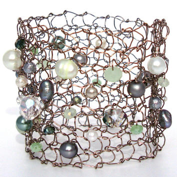Mint Pearl Silver Cuff Bracelet Grey Green Steel Wire Knit Jewelry Pastel Mesh Lace Statement Jewelry