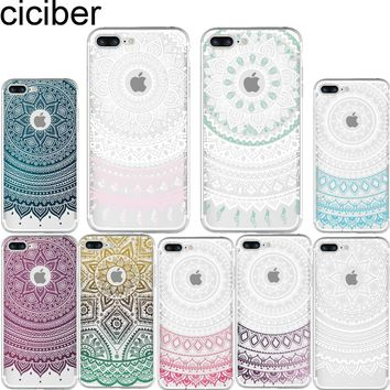 ciciber phone case Mandala Totem Henna Pattern soft silicon TPU case cover for Apple iphone 6 6S 5S SE 7 7 8 plus X Coque fundas