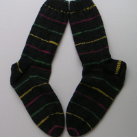 Washable Wool Socks, Hand-knit, Black with stripes