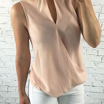 High Neck Pure Color Cut Out Loose Tank Top