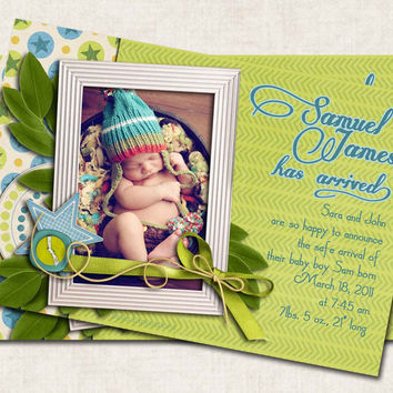Baby Boy Announcement Shower Thank You, blue green yellow stars, (DIGITAL FILE)
