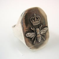 Queen Bee Western honey bee Ring Solid Sterling Silver 925 By Ezi Zino