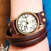 Women Watch  Leather Wrap Big Face by JasmineVintageJewels on Etsy