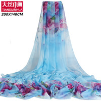 200*140cm 2017 Summer Print Silk Scarf Oversized Chiffon Scarf Women Pareo Beach Cover Up Wrap Sarong Sunscreen Long Cape Female