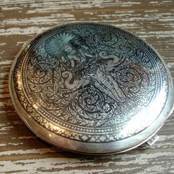 Vintage Niello Siam Sterling Silver Compact,1940s Mirrored Makeup Compact Case, Thailand, WWII Era, Hindu Elephant God, Siamese Medallion