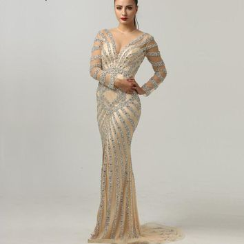 Latest Evening Gown Designs Long Sleeves Mermaid Beading Sequined Evening Dresses 2018 Real Photo Serene Hill LA6281