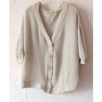 Women Autumn Plain Coloured Loose Bat-wing Sleeve Casual Khaki Cardigan One Size@II0165k $9.81 only in eFexcity.com.