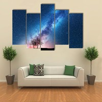 Trees Against Starry Sky With Milky Way Multi Panel Canvas Wall Art