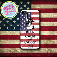 USA Keep Clam And Carry ON : IPhone 4/4s Case,IPhone 5 Case,Samsung Galaxy SIII,Hard Plastic Case,Soft Rubber Case