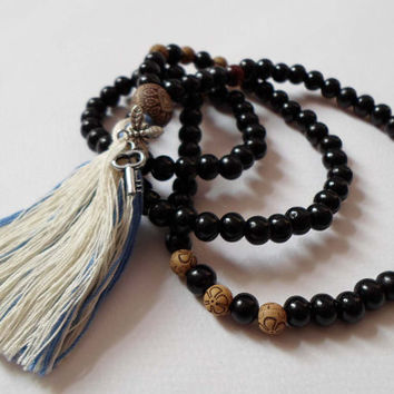 Black Sandalwood 108 Japa Mala, Yoga Tassel Necklace, Ethnic Hippie Necklace, Buddhist Mala Beads, Handmade Black Mala necklace, Yoga gift