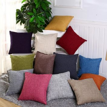1Pcs 40*40cm Linen Throw Pillow Cushion Cover Home Decoration Sofa Bed Decor Decorative Pillowcase 40396