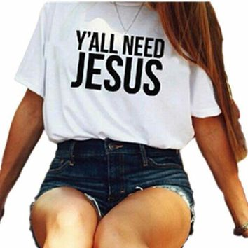 DCCK7XP White 'Y'ALL NEED JESUS' Letter Print T-Shirt