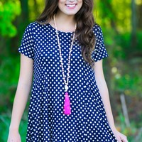 On The Dot Navy T-Shirt Dress
