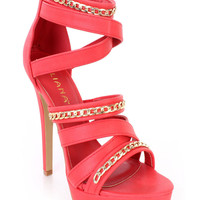 Red Chain Strappy Platform High Heels Faux Leather