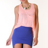 CORAL HEATHERED LOOSE HIGH LOW TANK @ KiwiLook fashion