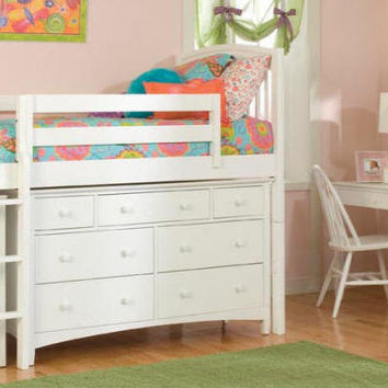 Elenora White Midhigh Loft Bed