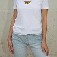 Jamie Butterfly Top - Short Sleeves - Embroidery - Graphics