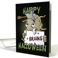 Zombie Holding a Brains Sign for Happy Halloween card