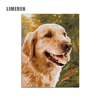 Golden Retriever DIY Digital Painting By Numbers Modern Wall Art Canvas Painting Unique Gift For Art Wall Home Decor