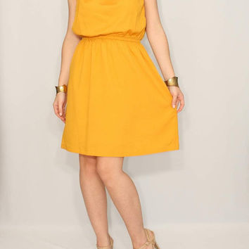 Mustard Dress Bridesmaid Dress Chiffon Dress Keyhole dress