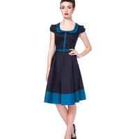 Voodoo Vixen Dark Blue Cap Sleeve Diner Flare Dress
